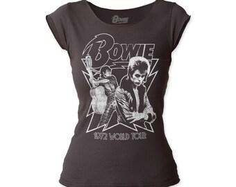 David Bowie 1972 World Tour Print Junior's Fitted Cut Tee Shirt - DBCT01(Black)