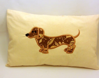 Machine Embroidered Fabric Applique Dachshund Pillow
