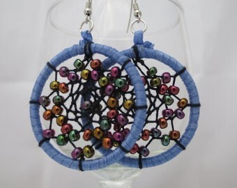 periwinkle multicolor iridescent beads dream catcher earrings