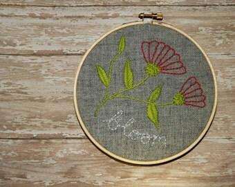 Bloom Flower Embroidery Hoop Art, Grey Wall Decor, Nursery Art, Girl's Room Decor, Botanical Art Thread Art, Handsewn Wall Decor, pink, gray