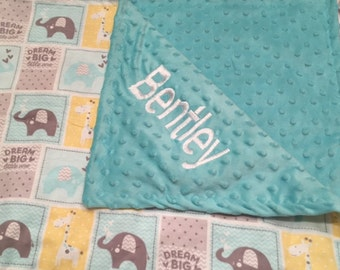 Personalized baby minky blanket, elephant blanket, Baby Gift, Nursery Blanket, Toddler Bedding, Nursery Blanket, Crib Bedding