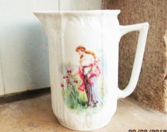 1800'S FRENCH PITCHER, art nouveau porcelain, art nouveau pitchers, bone china pitchers