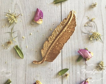 Hair clip, gold barrette, gilded feather hair jewelry, wedding, boho chic style