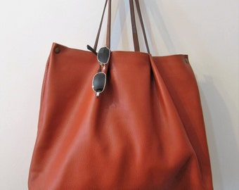 Handmade, genuine English leather, tote bag orange color, strong leather, grand cabas