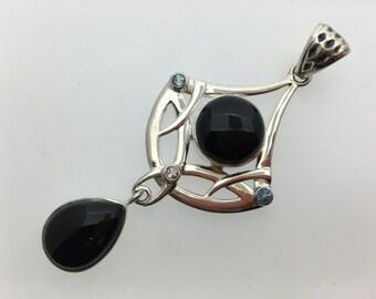 Black Onyx Blue Topaz Sterling Silver Pendant