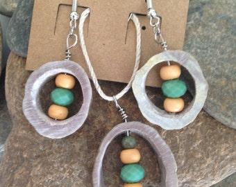 Shedz - Deer Antler Necklace And Earring Set