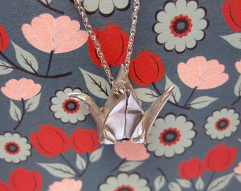 Origami Crane Bird Pure Silver Necklace Pendant Miniature Hand Folded