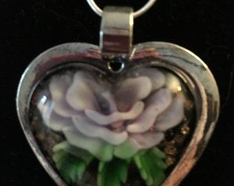 Glass Silver Flower Pendant Necklace