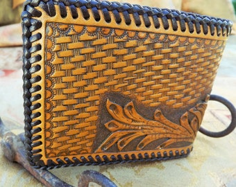 Men's Brown Leather hand tooled Wallet