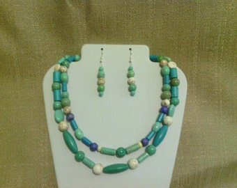 179 Beautiful Bohemian Two strand Multi-colored Magnesite Turquoise Beaded Necklace