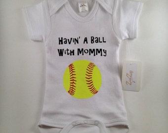 Softball Baby Clothes - Softball Baby - Sports Baby Clothes - Softball Jersey - Custom Baby Clothes -Personalized Baby Clothes-Havin' a Ball