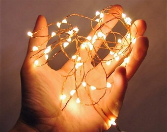 16.5 ft 100 Warm White LED Fairy Lights.  Silver or Copper Wire String Lights Use AA Batteries.  Includes 6 Hr timer. 3, 6, 8.5, & 16.5 ft.