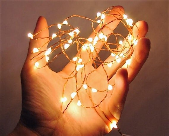 Warm White LED Fairy Lights. 3 Ft to 16.5 Ft Silver Wire or
