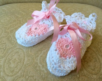 Baby Booties Pink and white