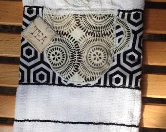 Original design, appliqued tea mug dish towel with tea bag tag, in bold fabric design.