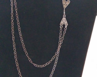 Beautiful sterling silver double chain with ornate Bali silver clasp
