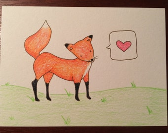 Handdrawn greeting card featuring Mr. Finnicky Fox