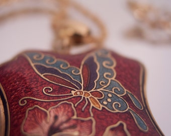 Cloisonne Butterfly Pendant on Goldtone Necklace