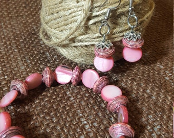 Set of Pink Paper Beads Bracelet and Earrings