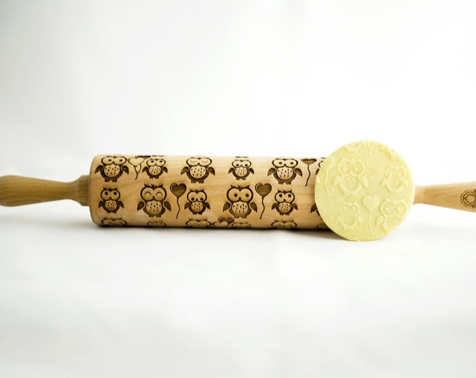 OWL rolling pin, embossing rolling pin, engraved rolling pin for a gift, OWLS, ANIMALS, kids, gift ideas, gifts, unique, autumn, wedding
