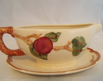 Apples Franciscan Ware Gravy Boat on Attached Tray Underplate Hand-Decorated