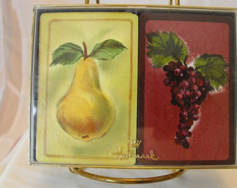 "Hallmark Bridge Set Playing Cards ""Nectar"" Pears Grapes Complete   (410)"