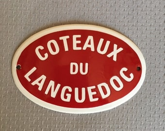 Metal Shabby Decor Home Vintage Sign Plaque enameled french wine cote du rhone