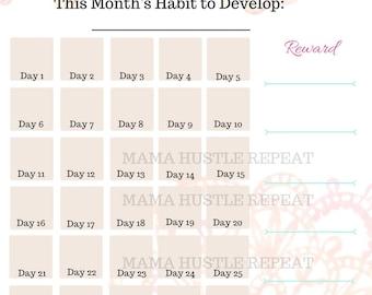 New Habit Tracker - Monthly Habit Tracker - Goal Tracker