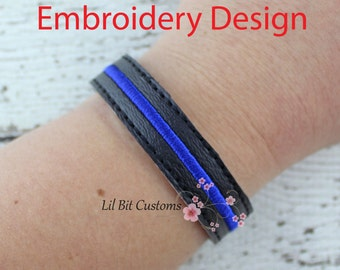 Embroidery Design - Thin Blue Line Bracelet