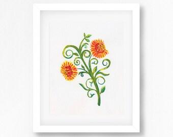 Yellow Flower Art Print, Watercolour Flower Painting, Floral Artwork, Botanical Art, Australian Art, Yellow Decor, Fine Art for Sale