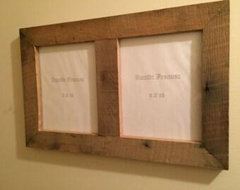 Rustic oak picture frame twin 8 x 10