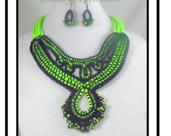 Black and Green Crochet Beaded Necklace and Earring Set