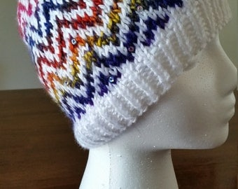 Hand Made, Hand Knit Rainbow Waves Adult Hat