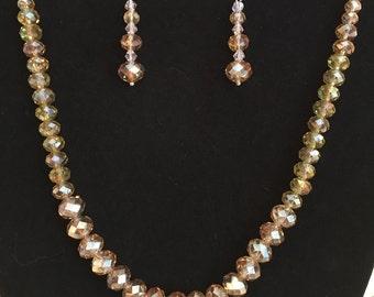 18' Swarovski Crystal Necklace Light Colorado Topaz AB