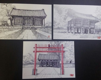 Korea Jeonju Tourist Spot Attraction Post Card 5Sheets Collection 2