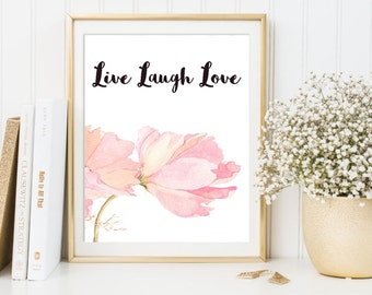 Watercolor Art, Live Laugh Love, 8 x 10 Print, 1 JPG, Instant Download, Original Art