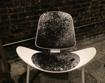 50's Inspired Art Deco Style Chair W/Cowhide