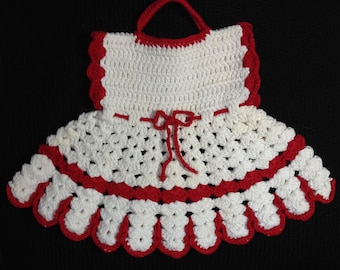 Vintage White and Red Crocheted Dress Doily Wall Decor