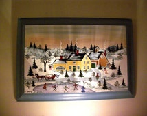 Hand painted picture Country Winter Scene, one-of-a-kind, Acrylic on Poplar by Virginia Young