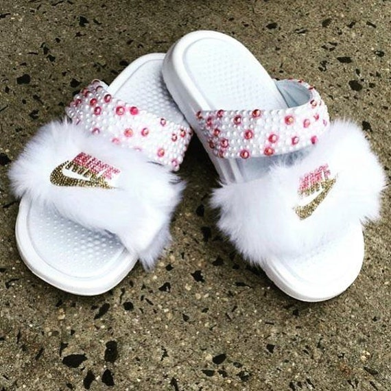 Nike Benassi Double Strap Fur Bling Slides