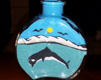 Sand art bottle colored sand dolphin home decorating