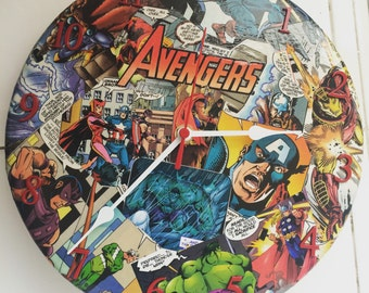 Avengers themed hand made clock- Made to order
