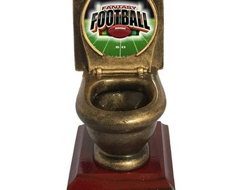 Fantasy Football Toilet Bowl Loser Trophy with 3 lines of custom text