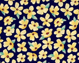 Meet Me In The Meadow Breezy Blooms Navy Fabric by Michael Miller