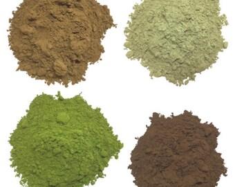Assortment of 4 different matcha tea powders