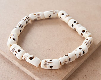 White Bone Beaded Bracelet