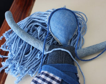 Hand Made Contemporary Art Doll, Blue Denim Jeans fabric staffed lavender (sachet) for home decor, kids and mothers Hippy Doll