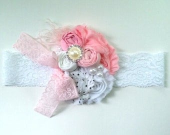 Sweetness lace headband - newborn shabby chic headband - baby girl headband - pink and white lace headband - white lace headband