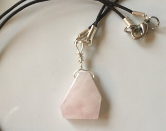 Rose Quartz Silver Wire Wrapped Necklace