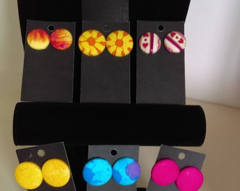 Fabric covered earrings, colourful